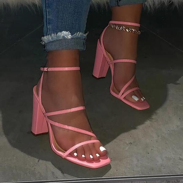 Розовые новые летние сандалии удобные и универсальные с открытым пальцем на высоком каблуке сандалии на высоком каблуке вскользь открытый сплошной цвет плюс размер сандалии