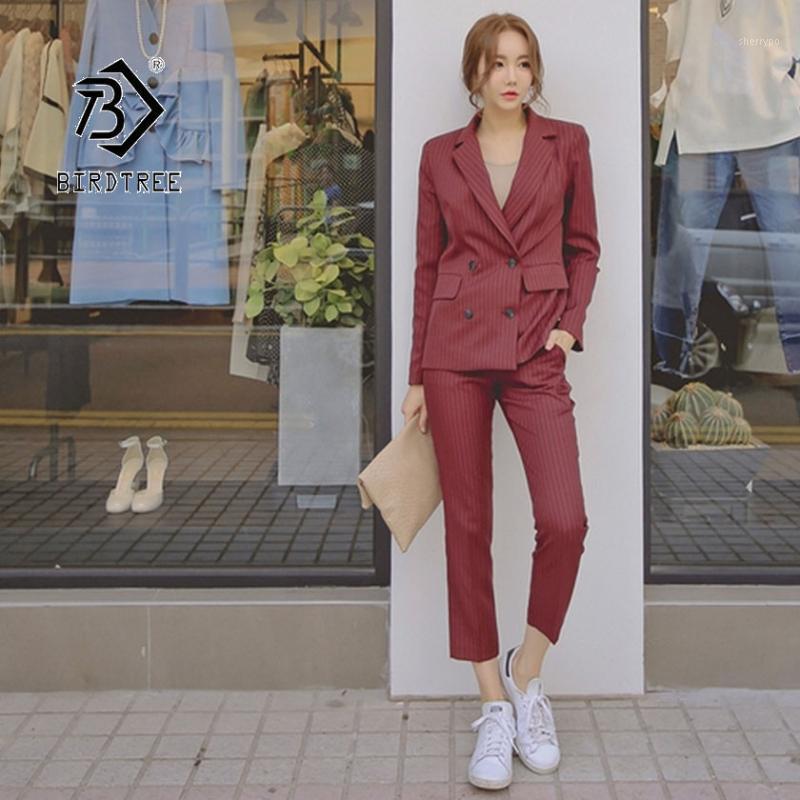 2020 Осенние женские две части набор костюм Офисная леди формальная элегантная двубортная полоса Blazer Blazer брюки на молнии Устанавливает вершины S96902D1