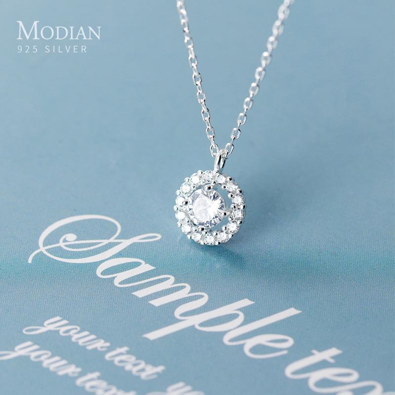 Collier de pendentif géométrique CZ de Mode Modone 925 Sterling Sterling Sterling Collier pour femmes Réglable Link chaîne bijoux fine 2020 nouveau F1202