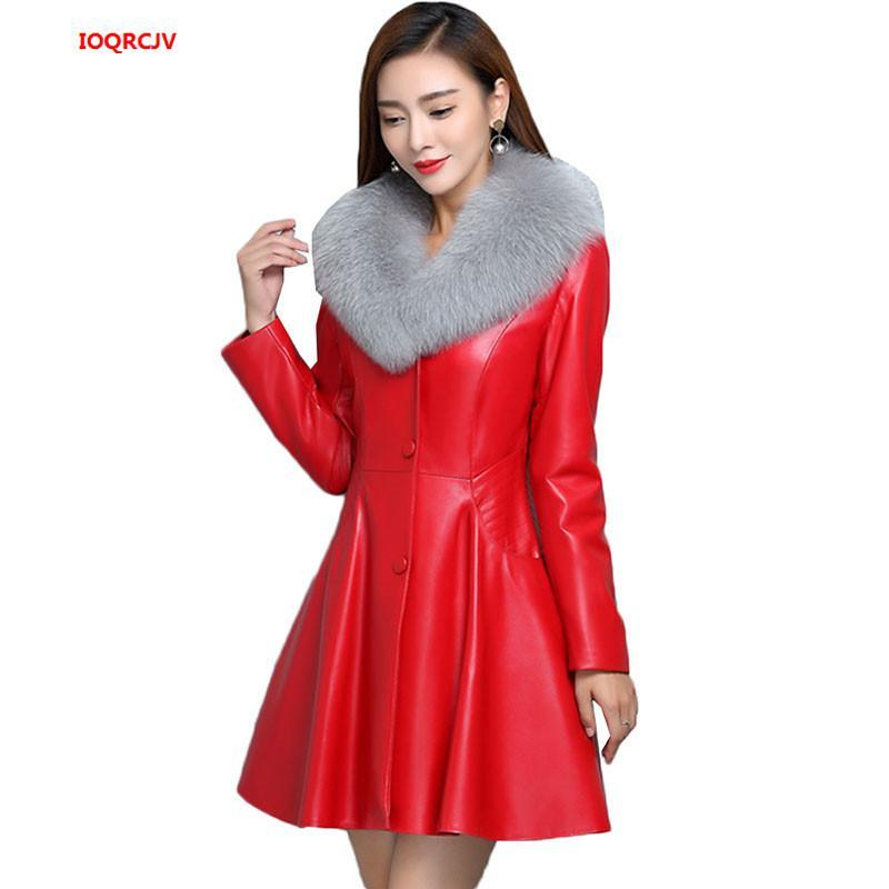 Кожаная имитация Меховой воротник Женская длинная секция кожаная куртка стройная плюс хлопок мода PU зимнее зимнее пальто W1416