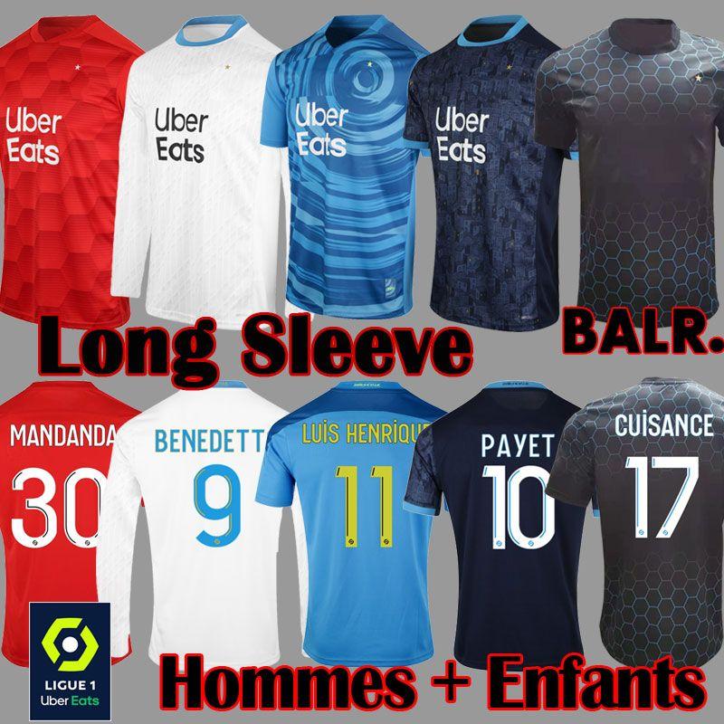 Olympique de Marseille BLAR Maillot OM Manche longue 2020 2021 Maillot de foot PAYET THAUVIN BENEDETTO 20 21 maillot marseille maillots de football soccer jersey Homme Enfant Kit