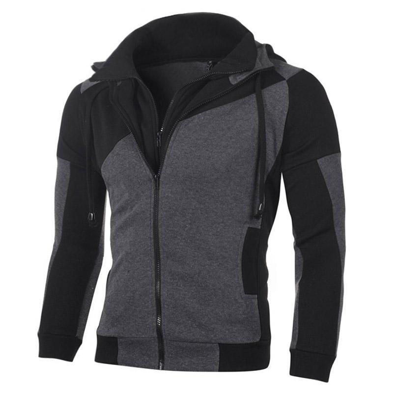 Hommes Sweats Sweatshirts Automne Hiver Nouveau Casual Patchwork Double Zippotail Sweat Sweatshirt Hommes Spood Cardigan Streetwear