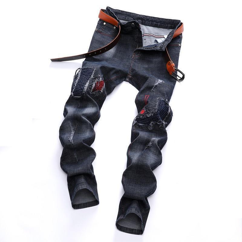 남자 청바지 남자 스트레치 찢어진 구멍 멋진 브랜드 패션 데님 플러스 크기 28-42 힙합 스트라이프 슬림