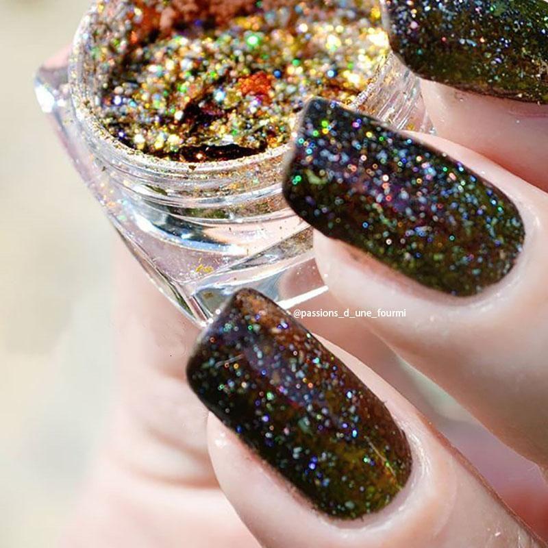 Holographische 1 stück Bling Nagel Glitter Sternenry Nail art Pulver ultradünne glänzende bunte Glitzer Maniküre verwendet mit UV Gel Polnisch