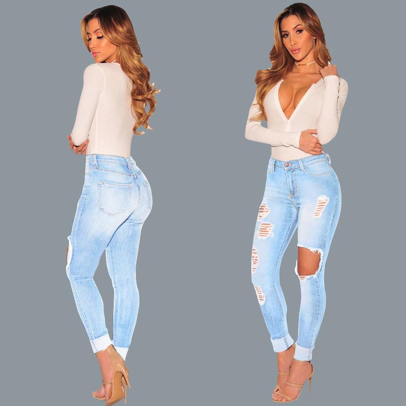 Новые весенние женщины мода повседневный джинсовый парень дыра с высокой талию женские брюки сексуальные джинсы