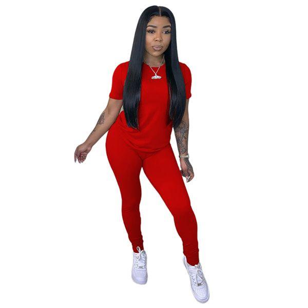 Compre Primavera Y Verano 2021 Camiseta De Color Solido Para Mujer Pantalones De Dos Piezas Set De Cuello Redondo Mangas Cortas Pantalones Moda Slim Slim Selling Traje A 10 17 Del Rosestore2018 Dhgate Com