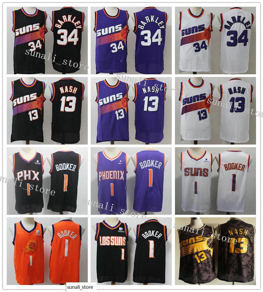Genähte Männer Devin Booker 1 Dekre Ayton 22 Steve Nash 13 Retro Lila Weiß Schwarz Charles Barkley 34 Trikots Basketball Hemden