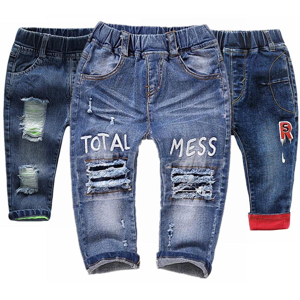 0-6T Baby Jeans Infant Cotton Stretchy Denim Pants Kids Trousers Ripped holes Jeans Bebe Clothes Kids Clothing Babe Jeans 1 2 3 F1203