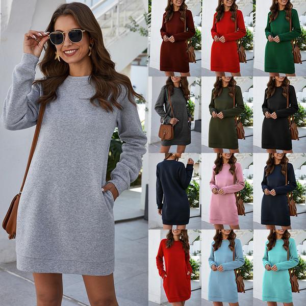 가을 / 겨울에 여성을위한 포켓, 유행 및 다재다능한 라운드 넥 긴 소매 드레스를 가진 고품질의 드레스