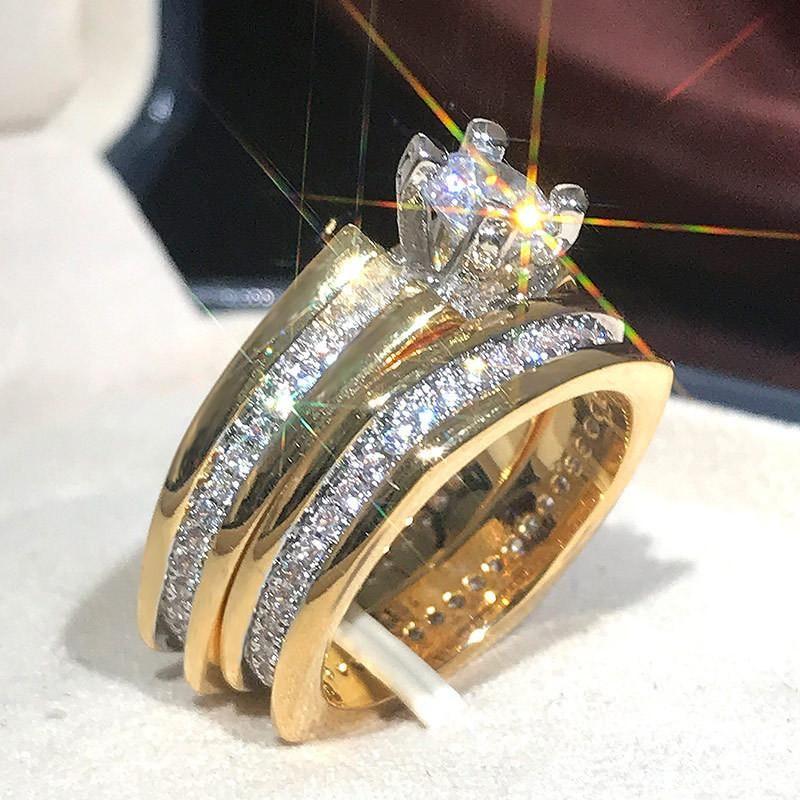 Modyle 2 adet Gelin Seti Yüzük Lüks Altın Renk Geometrik Şekil Düğün Takı Kadınlar Mikro Açacağı CZ Bayan Teklifi Nişan Yüzükler