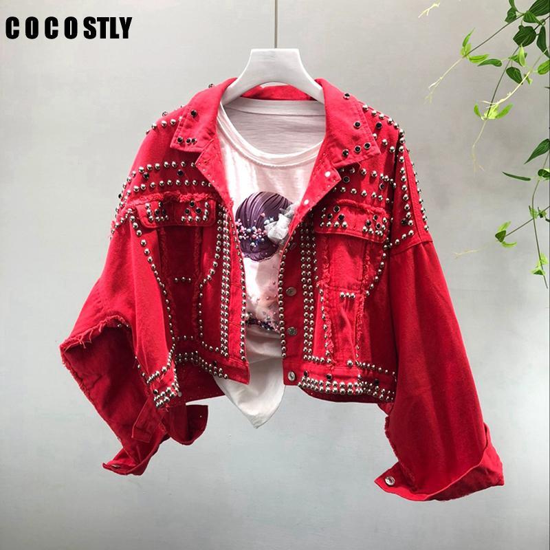 2020 Spring Femmes Harajuku Red Denim Veste Manteau Lourde à la main Perlée Court Courtiers Black Jeans Vestes Étudiants Couvertures de base Outfit