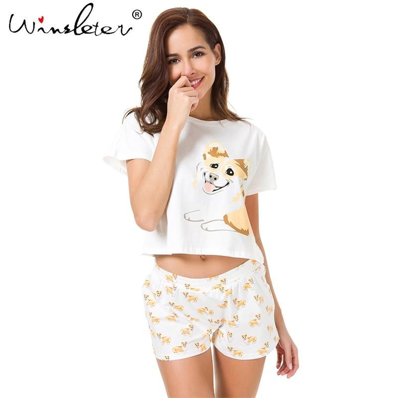Corgi Pajamas Femmes Chien Print Top Shorts 2 pièces Ensemble Pyjamas en coton Pajamas élastique lâche Pajamas S61004 Y200708