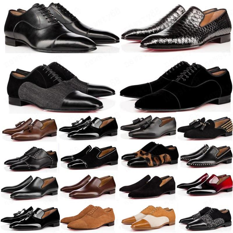 حار 2020 مصمم رجل أحذية متعطل أسود أحمر سبايك براءات الاختراع الجلود الانزلاق على اللباس الزفاف الشقق القيعان الأحذية للأعمال حزب حجم 39-47