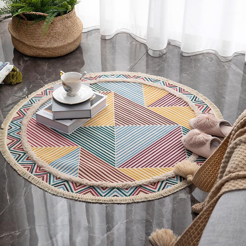 Nordic Round Carpet Cotton Hand Tufted Living Room Sofa Bedroom Breathable Non Slip Floor Mat Household Floor Decoration1