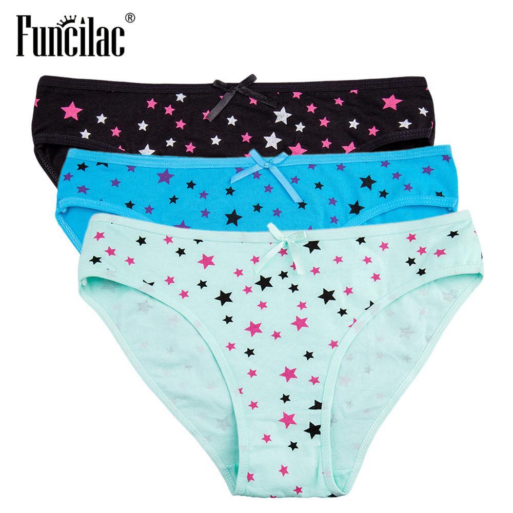 Funilac Briefs Mulheres Estrelas Floral Dot Leopard Imprimir Calcinha Sexy Lace Algodão Respirável Underwear Senhoras Lingerie 3 Pcs / Lot