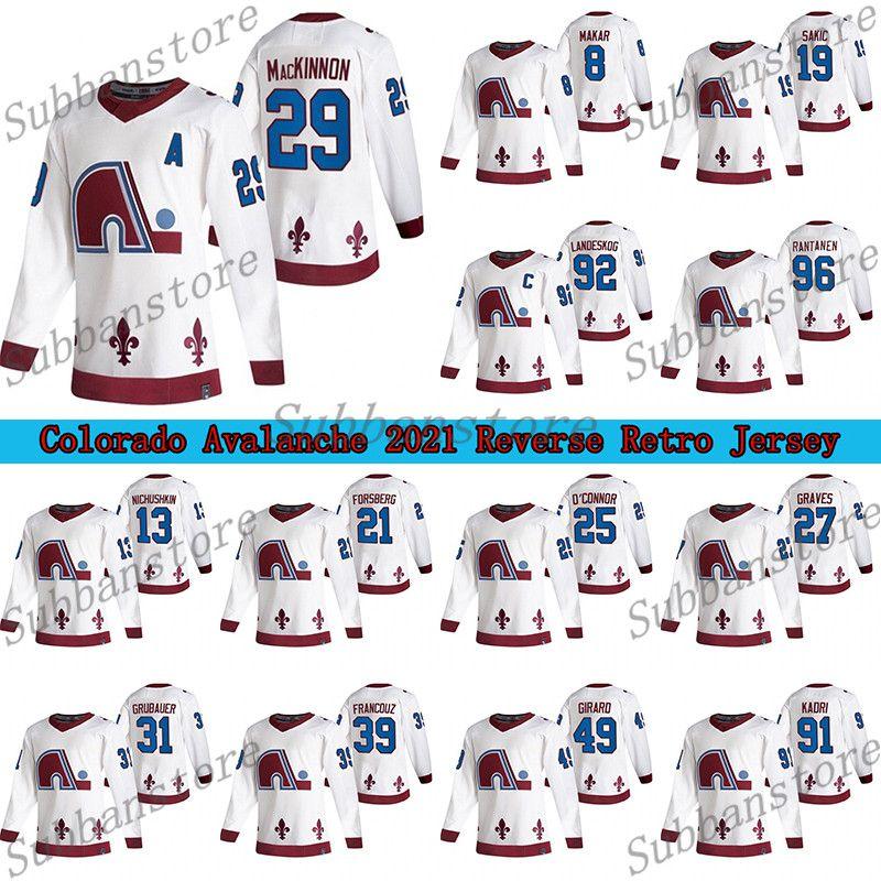 Colorado Avalanche 2021 Reverse Retro Jersey Quebec Nordas 8 Cale Makar 29 Nathan Mackinnon 96 Rantanen 92 Landeskog Hockey Jerseys