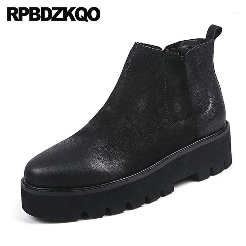 High Top Ankle Winter Boots Thick Soled Wedge Fur Sole Real Leather Runway Booties Platform Men Slip On Casual Shoes1