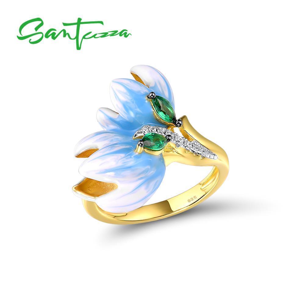 Santuzza серебряные кольца для женщин аутентичные 925 стерлингового серебра серебро 925 золотой деликатный цветок орхидеи тонкие украшения ручной работы эмаль Y1119