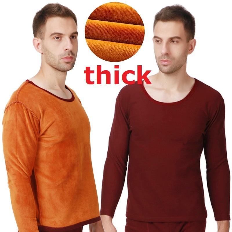 Uzun Johns Termal Iç Çamaşırı Takım Elbise Yeni Sonbahar Kış Erkekler Kalınlaşmak Altın Kadife Yumuşak Sıcak Gömlek + Pantolon 2 Parça Setleri