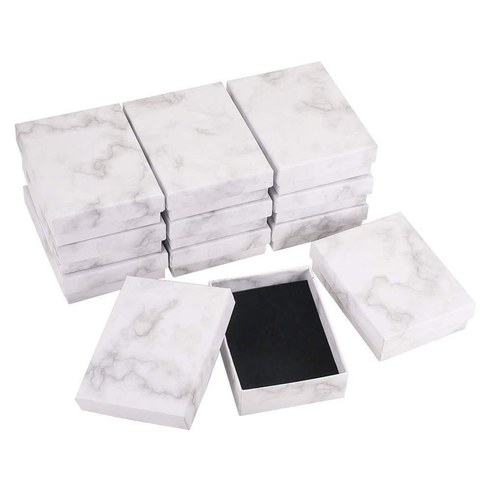 Caixa de jóias de mármore Colar pulseira anéis embalagem embalagem caixa de exposição presentes jóias armazenamento organizador portador retângulo / quadrado j1202