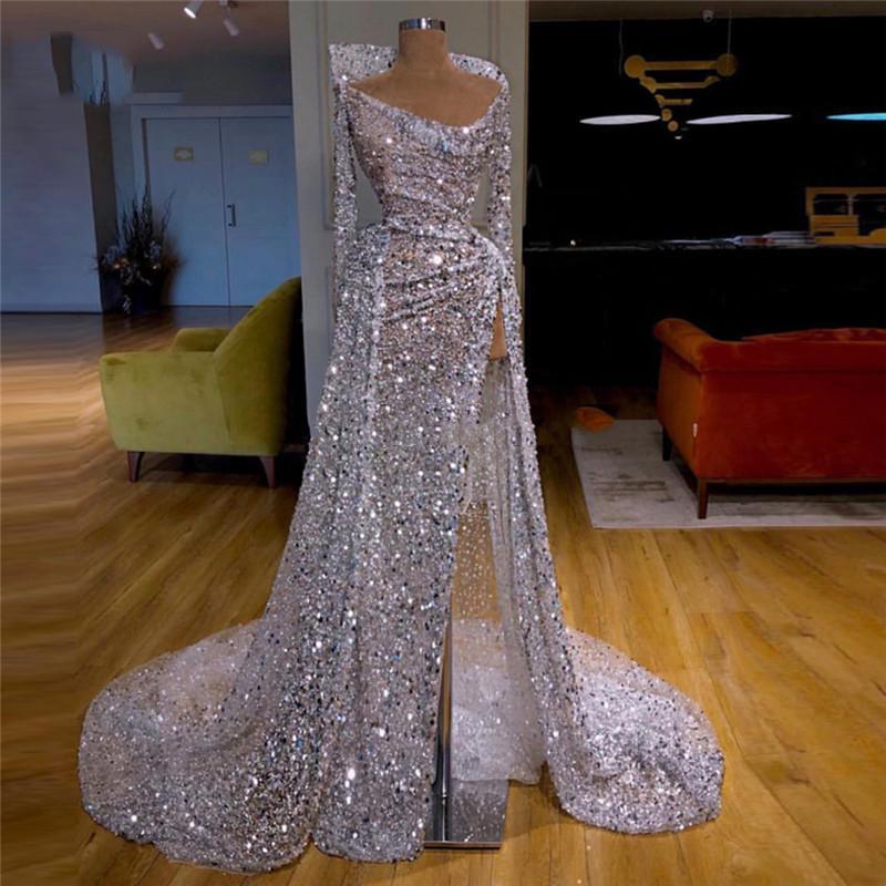 Bling Sequins Uzun Kollu Abiye Kapalı Omuz Yüksek Yan Bölünmüş Balo Elbise Illusion Aso Ebi Afrika Robe de Soiree