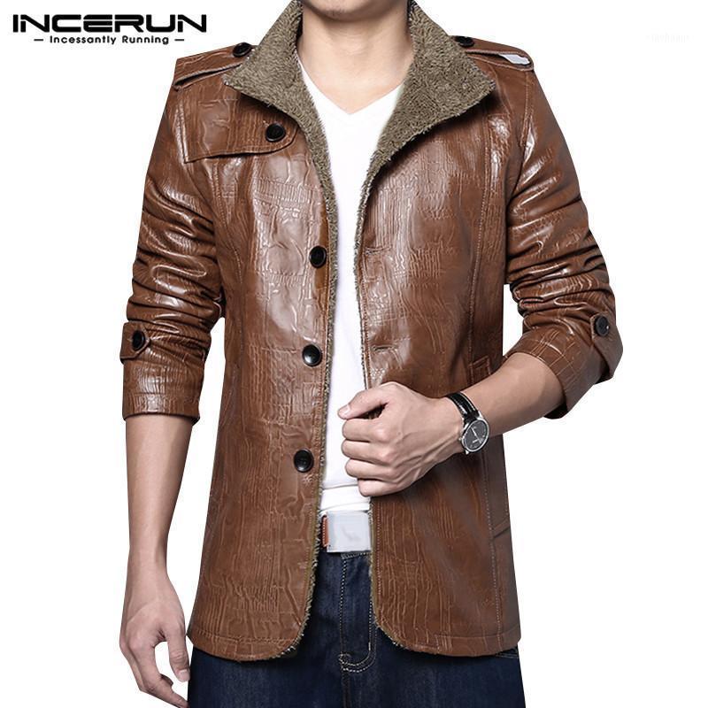Зимние моды мужские куртки PU кожаная уличная одежда отворота с длинным рукавом пальто деловые повседневные куртки 2019 теплые мужчины пальто incerun1