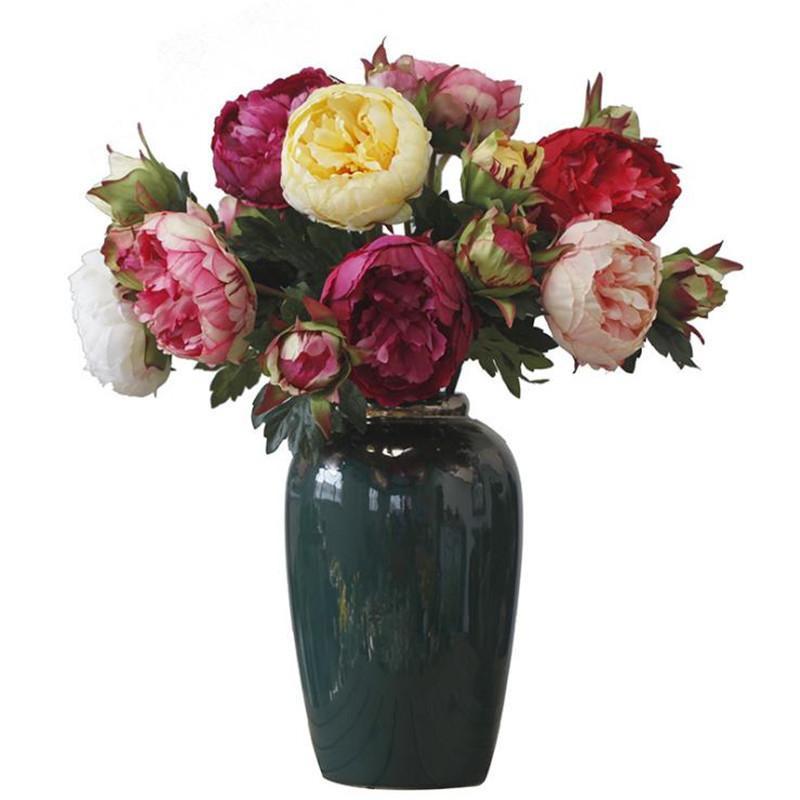 """Gefälschte Einzelne Stamm Pfingstrose 22.83 """"Länge Simulation Runde Paeonia für Hochzeit Home Dekorative künstliche Blumen"""