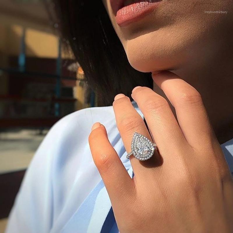 2020 Yeni Lüks Armut Katı Kadınlar Için 925 Ayar Gümüş Nişan Yüzüğü Lady Yıldönümü Hediye Takı Toplu Satmak Moonso R54901