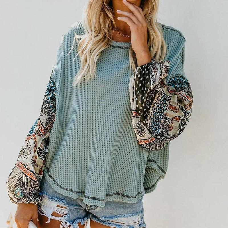 Peomfly Mulheres Pullovers Sweater de malha Boho Impresso Long Bell Mandeve O-pescoço Pullovers solto Jumper Feminino Streetwear Roupas 201031