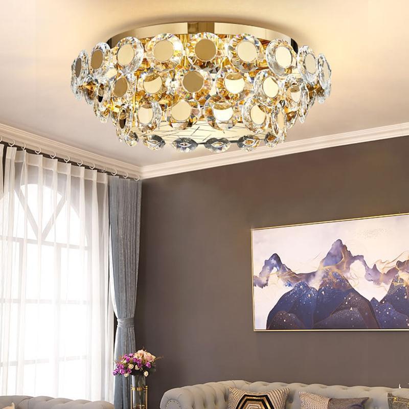 جديد الذهبي كريستال الثريا أضواء غرفة المعيشة غرفة الطعام نوم بهو الفاخرة الثريات مصابيح الإبداعية فلوش جبل الصمام الإضاءة
