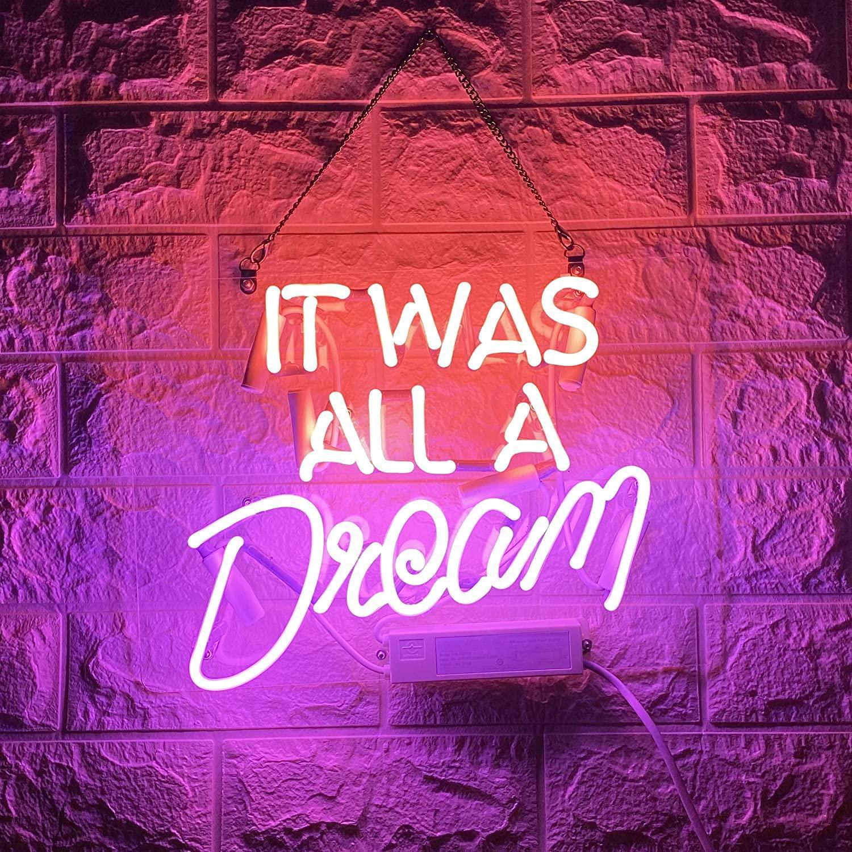 그것은 모든 꿈의 진짜 유리 핸드 메이드 네온 벽 둥근 침실을위한 핸드 메이드 네온 벽 표지판 침실 소녀 Hotel Beach 14x10 인치 무료 배송