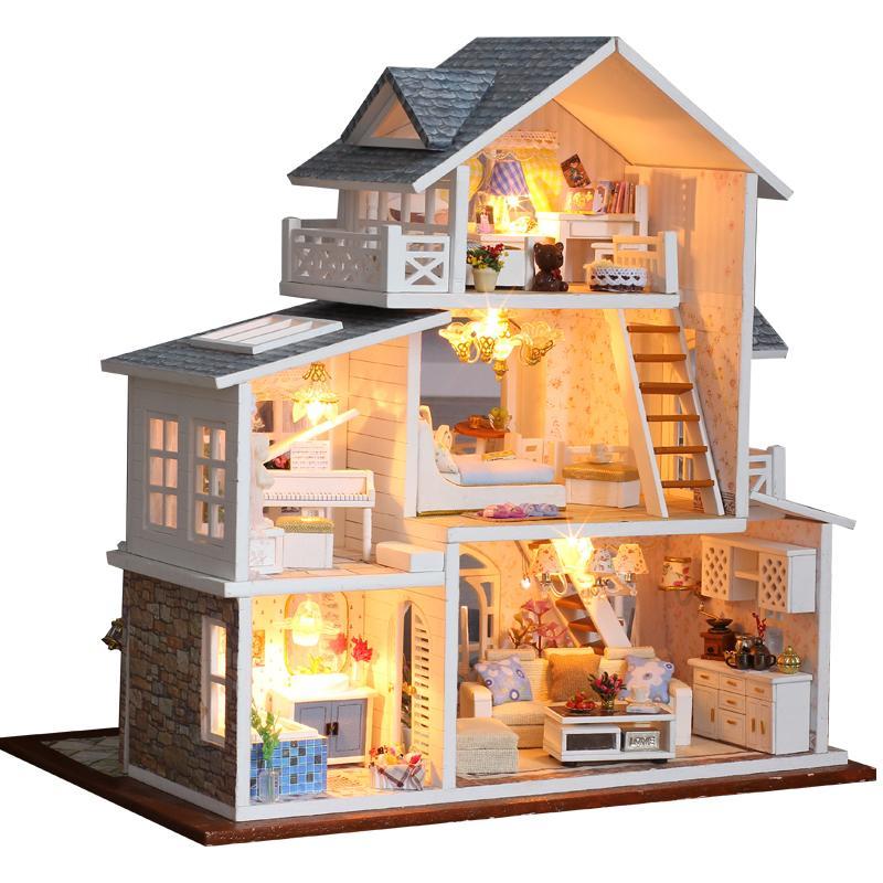 Cutebee fai da te casa di bambole bambole in legno case in miniatura bambola casa mobili kit casa musicale led giocattoli per bambini regalo di compleanno k18 201016