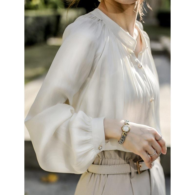 Chohill Blusas Estate e camicia da donna in francese Top Donne a maniche lunghe Glossy 2020 Silk Satin Shirt A1112 Spring Bianco Blouses Retro FNDKD