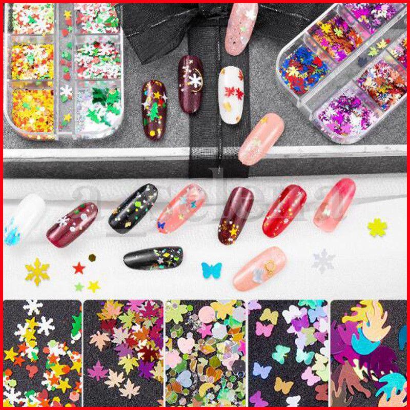 10 Arten Getrocknete Schneeflowers Glitter Flocken Nail Dekorationen Blumenschmetterling Blatt Aufkleber Schönheit DIY Zubehör 12 Gitter Weihnachten
