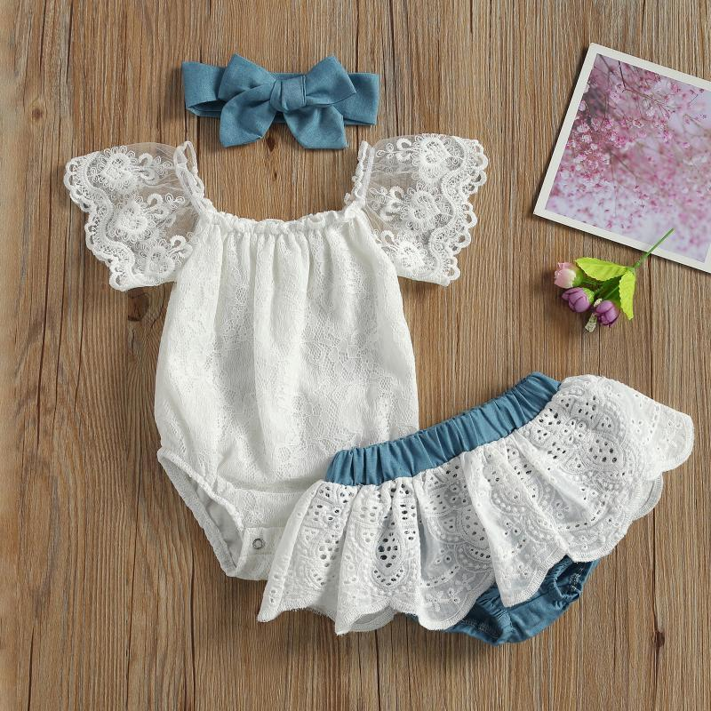 Clothing Sets Born Infant Baby Girls Clothes Set Summer Short Sleeve Off Shoulder Lace Romper Tops+Shorts+Headband 3pcs Outfits