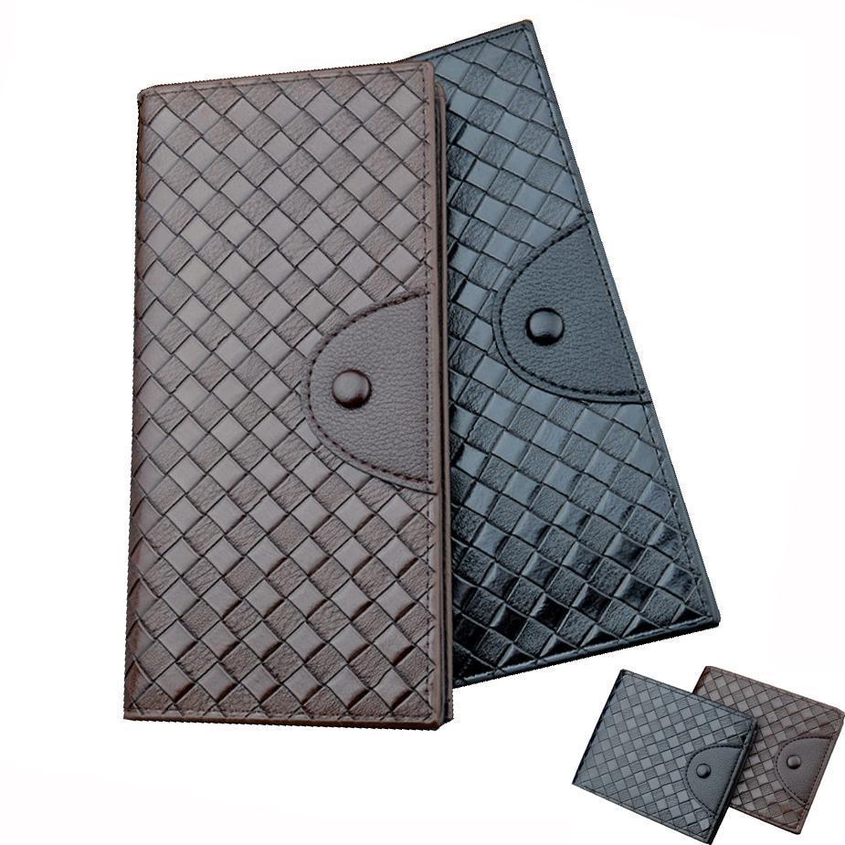 Portefeuilles à longs Portefeuilles de poche en cuir tissé Hommes Porte-cartes de visite de grande capacité
