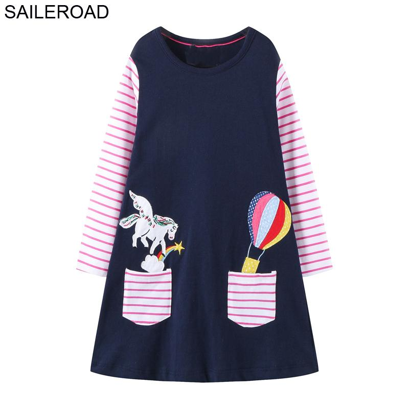 SAILEROAD Girls Unicorn Costume Cartoon Cotton Long Sleeve Lovely Dresses Autumn Winter for Baby Girl Party Dress 2-7Years 201202