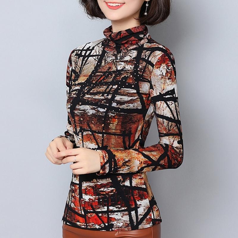 Blouse Shirts Women Thick Warm Turtleneck Beading Geometric Print 2019 New Winter Womens Tops Mesh Plus Size 6XL Velvet Blusas T200320