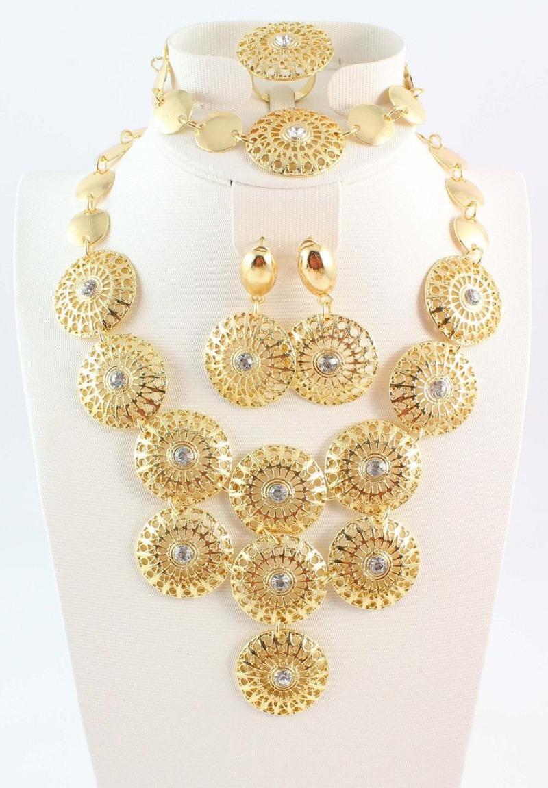 حار بيع شحن مجاني الذهب الطلاء الأزياء والمجوهرات مجموعة، أنيقة المرأة النبيلة الذهب والمجوهرات للحفال