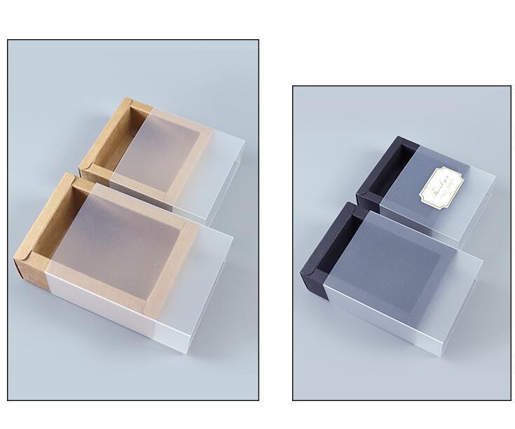 9 Tamaños Kraft Blanco Blanco Regalo Caja de embalaje con ventana Kraft Carton Paper Regalo Caja de papel con tapa C Qylvtl Xhhair