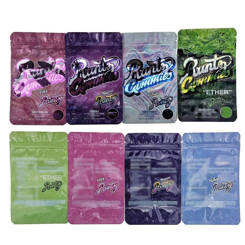 2020 Hot Vendeur Emballage comestible Blanc Runtz mylar Sac Sacs Comestibles Ether Runtz gélifiés en plastique Zipper Top Design Sac 4 types