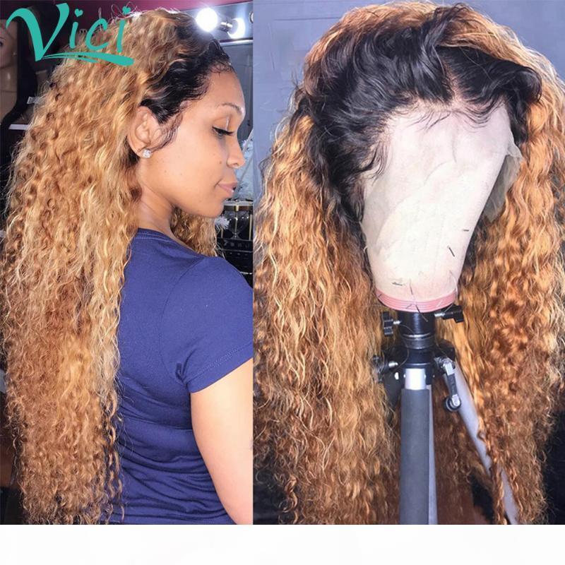 Pelucas del cabello humano del frente del encaje rizado de Ombre para las mujeres 1b27 color marrón 13x4 peluca de encaje peluca brasileño remy pelo blanqueado nudos pre arrollados