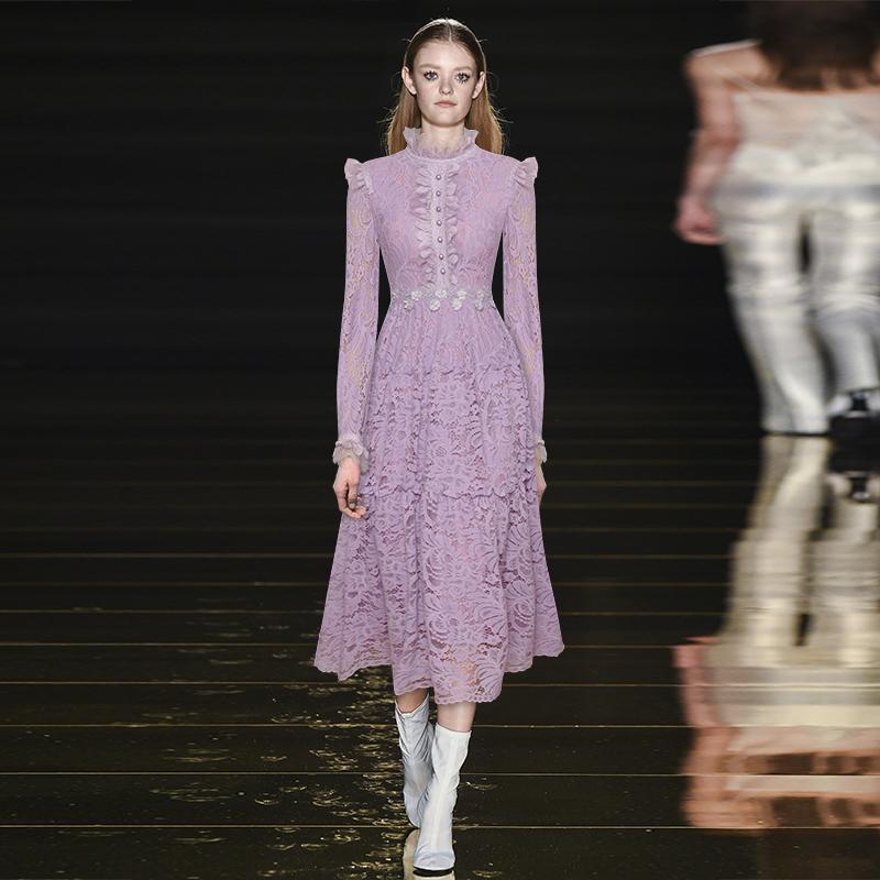 Günlük Elbiseler Yaka Uzun kollu Falbala Kabul Bel Stereo Bir Pint Oldu Uzun Render Tomurcuk İpek Elbise 2021 Sonbahar