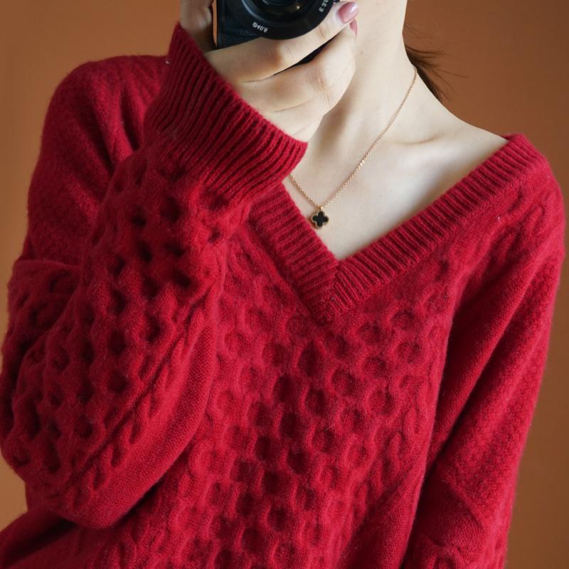 High-End Automne Hiver 100% Cachemire et pull en laine V-NE Femme Femme Femme Loable Taille De Grande Taille Vêtements Tops Heurt