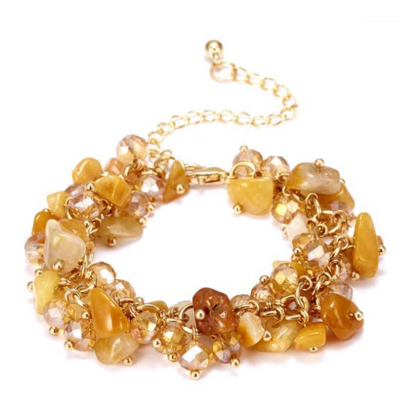 Perlen, Stränge Licht gelb Gold Farbe Link Kette Unregelmäßige Form Kieskristall mit Strass Armband Tigerauge Stein Schmuck