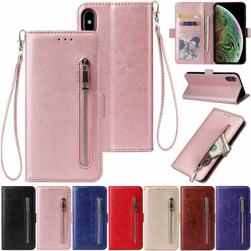 Reißverschluss Brieftasche Leder Flip Cover Case für iPhone 12 Mini 11 Pro XR XS MAX 6S 7 8 PLUS