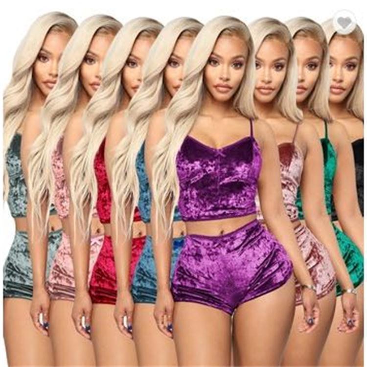 뜨거운 숙녀 벨벳 잠옷 란제리 세트 섹시한 스파게티 스트랩 반바지 잠옷 여성 파자마 파티 2 개 세트