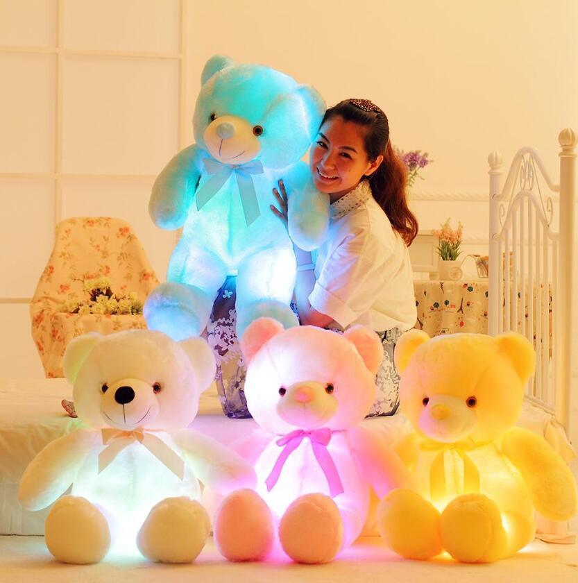 50cm 크리 에이 티브 빛 위로 led 테디 베어 박제 동물 봉제 장난감 다채로운 빛나는 크리스마스 선물 어린이 베개 201027