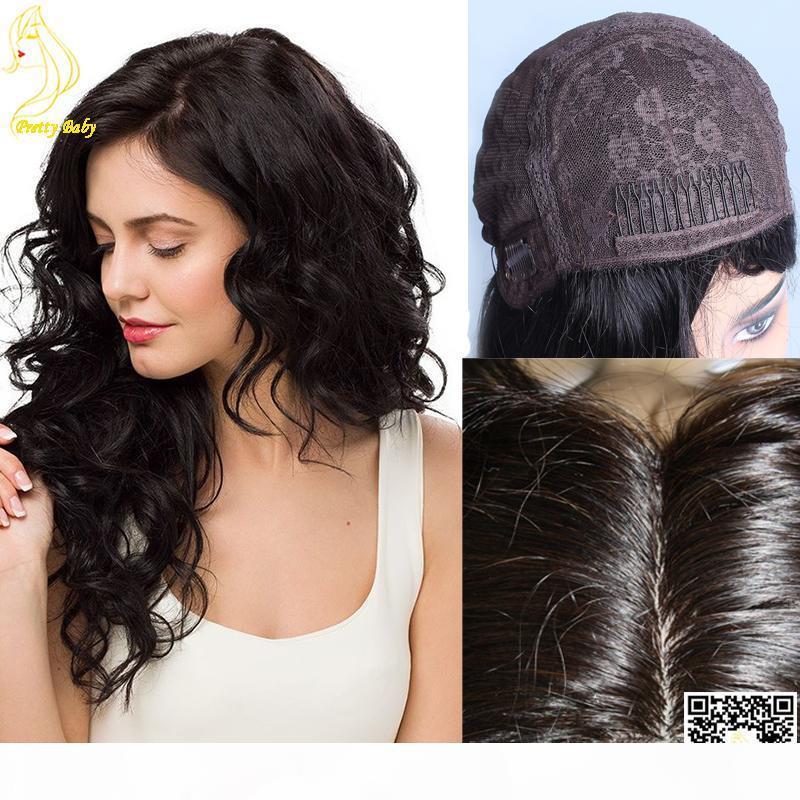 "En iyi Yahudi Peruk İnsan Saç İpek Üst Yok Dantel Peruk Perulu İnsan Saç Koşer Peruk Doğal Kafalı 4 ""X4"" İpek Üst"