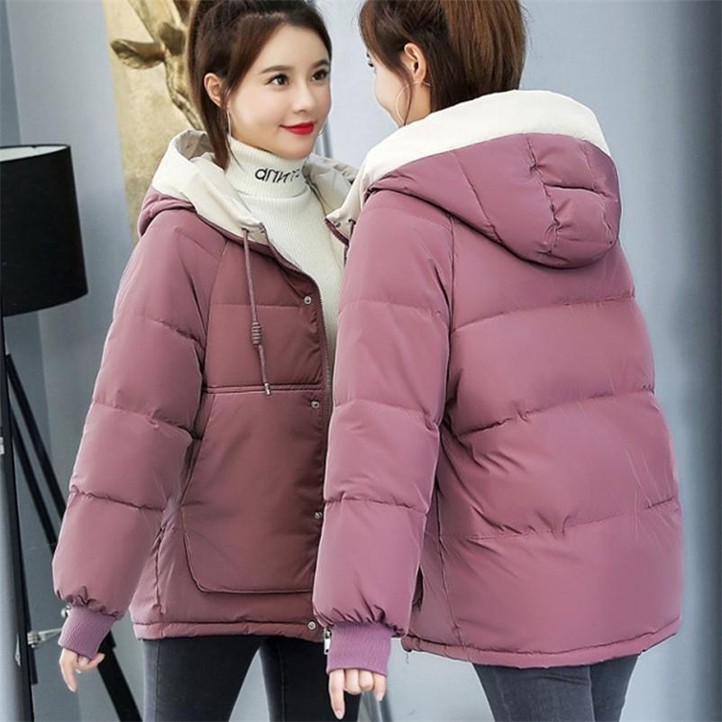 Winter Warm Cotton Padded Coat Women Hoodies Parkas Short Jacket Famale Plus Size Loose Casual Clothing 201211